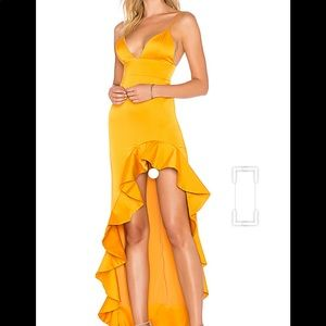 Ahamani gown from revolve in a sunset yellow